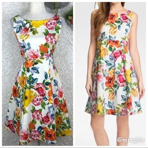 Eliza J Floral Print Fit & Flare Dress | 12